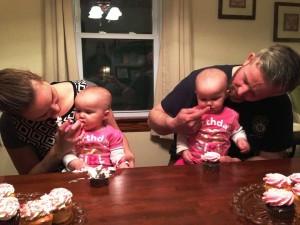 Enjoying their first birthday celebration